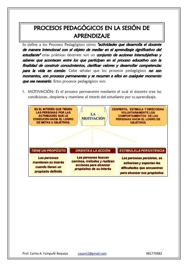 """PROCESOS PEDAGÓGICOS EN LA SESIÓN DE                   APRENDIZAJESe define a los Procesos Pedagógicos cómo """"actividades q..."""
