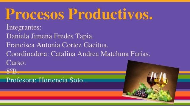 Procesos Productivos. Integrantes: Daniela Jimena Fredes Tapia. Francisca Antonia Cortez Gacitua. Coordinadora: Catalina A...