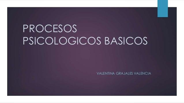 PROCESOS  PSICOLOGICOS BASICOS  VALENTINA GRAJALES VALENCIA