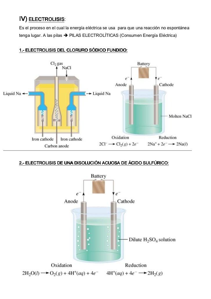 IV) ELECTROLISIS    ELECTROLISIS:Es el proceso en el cual la energía eléctrica se usa para que una reacción no espontáneat...