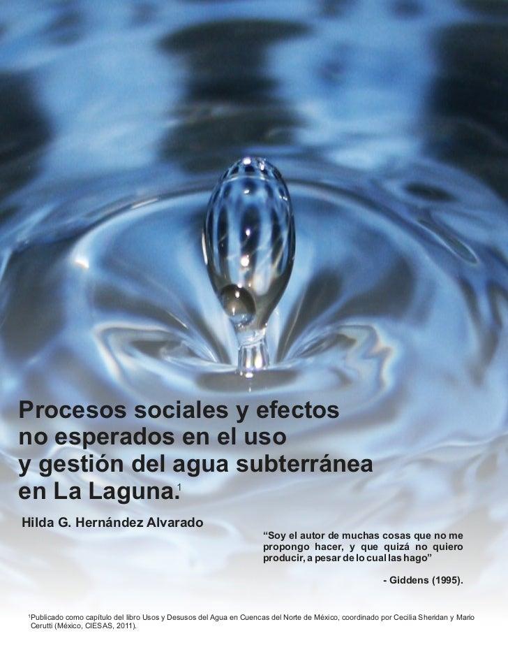 Procesos sociales y efectosno esperados en el usoy gestión del agua subterráneaen La Laguna.1Hilda G. Hernández Alvarado  ...