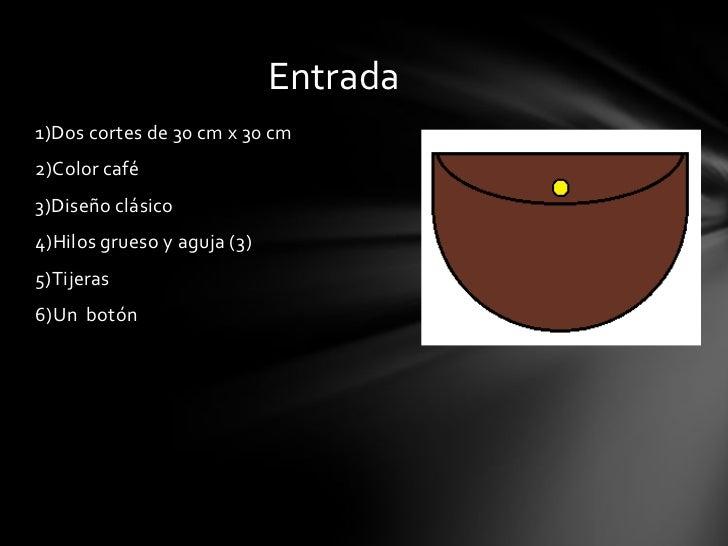 Entrada1)Dos cortes de 30 cm x 30 cm2)Color café3)Diseño clásico4)Hilos grueso y aguja (3)5)Tijeras6)Un botón