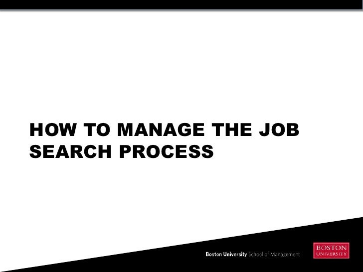 HOW TO MANAGE THE JOBSEARCH PROCESS