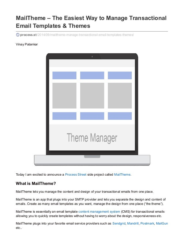 MailTheme The Easiest Way To Manage Transactional Email Templates - Email template management system