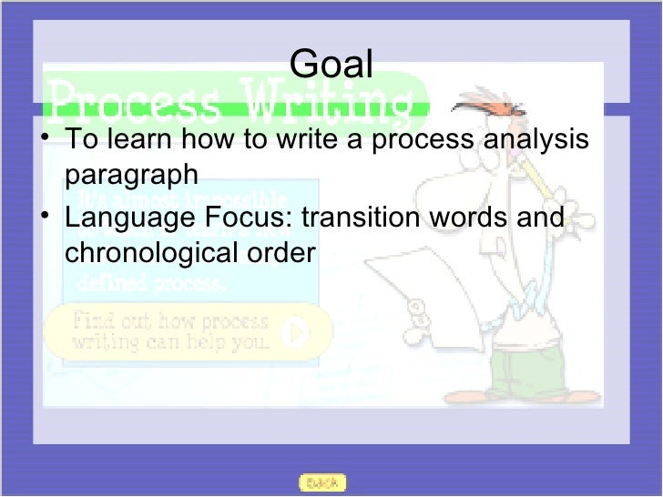 process paragraph notes Write 1 well developed process analysis paragraph the process analysis paragraph helps basic level and esl writers share step- by -step instructions with their readers the process analysis paragraph really helps writers stay organized because this type of writing calls for step-by-step instruction.