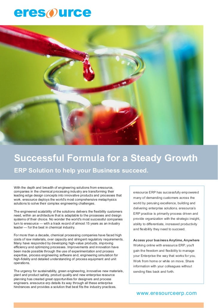 Successful Formula for a Steady GrowthERP Solution to help your Business succeed.With the depth and breadth of engineering...