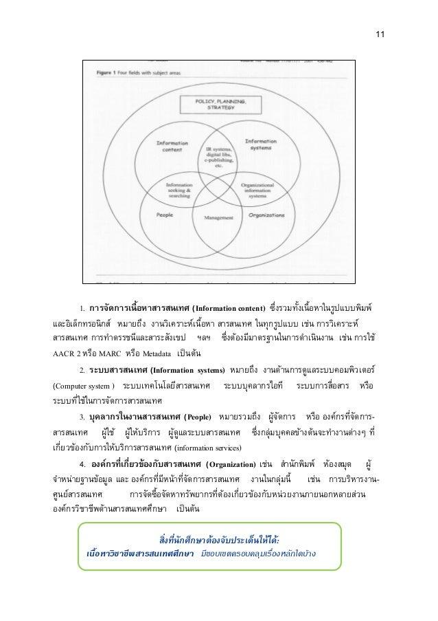 11 1. การจัดการเนื้อหาสารสนเทศ (Information content) ซึ่งรวมทั้งเนื้อหาในรูปแบบพิมพ์ และอิเล็กทรอนิกส์ หมายถึง งานวิเคราะห...