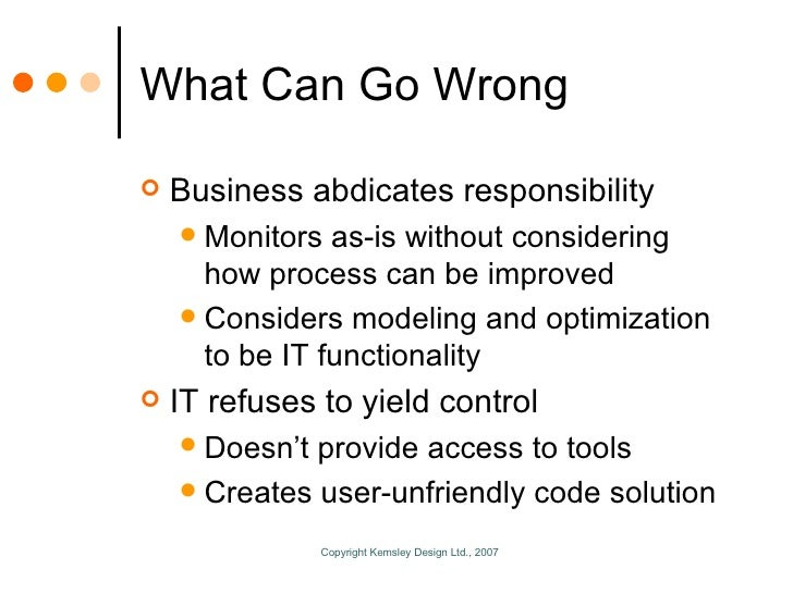 What Can Go Wrong <ul><li>Business abdicates responsibility </li></ul><ul><ul><li>Monitors as-is without considering how p...