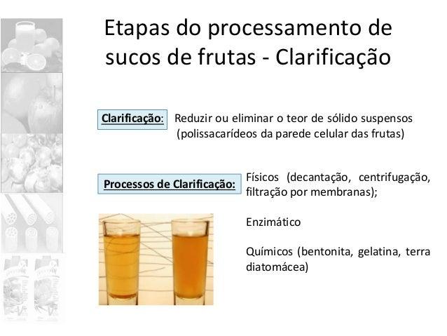 Etapas do processamento de sucos de frutas - Clarificação Clarificação: Reduzir ou eliminar o teor de sólido suspensos (po...