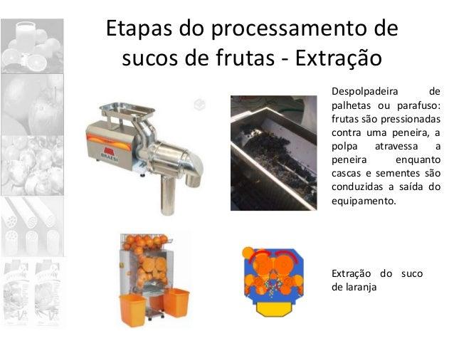 Etapas do processamento de sucos de frutas - Extração Despolpadeira de palhetas ou parafuso: frutas são pressionadas contr...