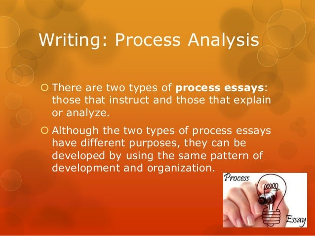 types of process analysis essay Rhetoric is the study of writing, and the basic types of academic writing are  referred to as  an exemplification essay extends this idea even further: it carries  one or more  technical writing includes a lot of process analysis, for instance.