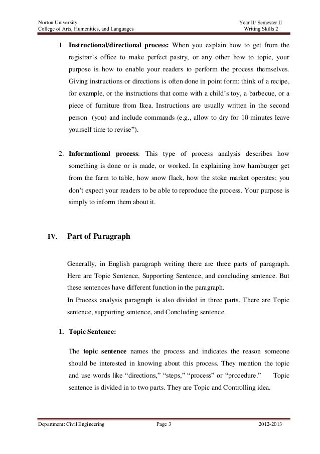 "process analysis essay example Process analysis (""how to"")  processing the process essay  for example, do not write anything like this: step i: get two pieces of 2 by 4 plywood ."