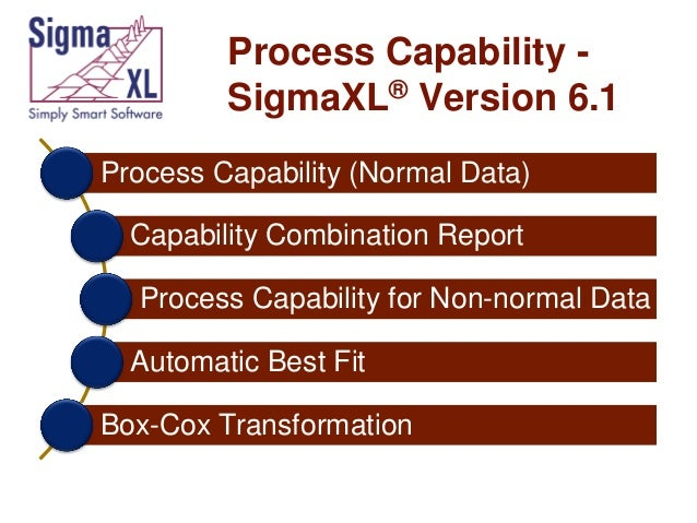 Process Capability SigmaXL® Version 6.1 Process Capability (Normal Data)  Capability Combination Report Process Capability...