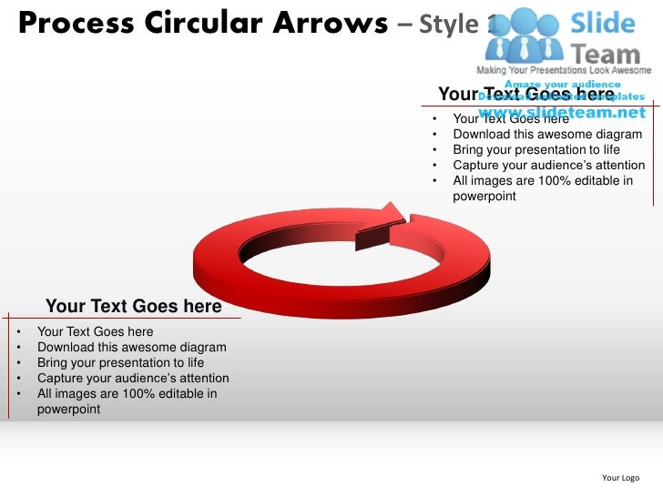 Process Circular Arrows – Style 1                                            Your Text Goes here                          ...