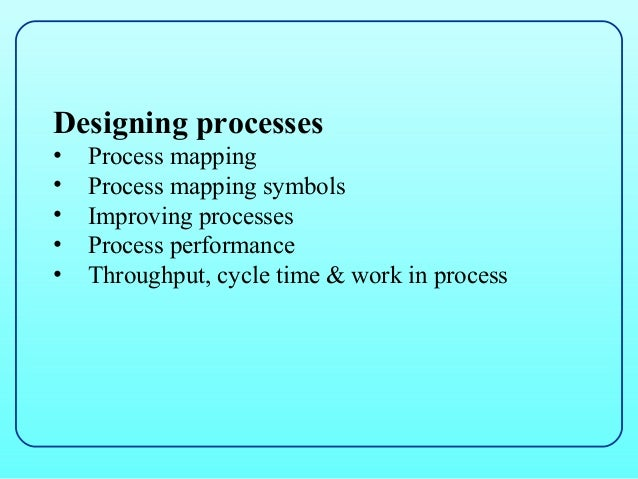 Designing processes•   Process mapping•   Process mapping symbols•   Improving processes•   Process performance•   Through...