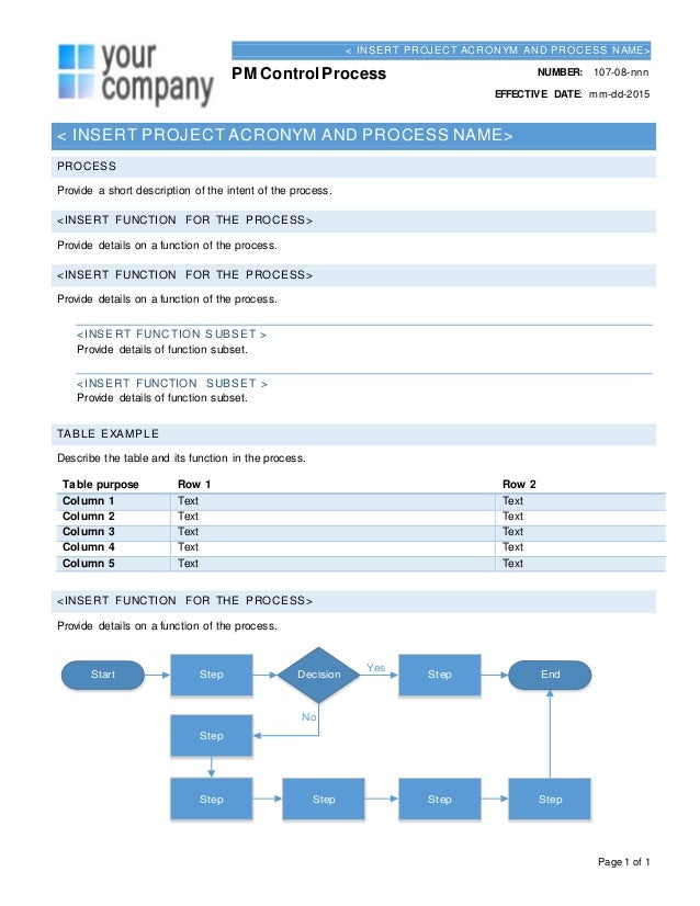Process Document Template  NinjaTurtletechrepairsCo