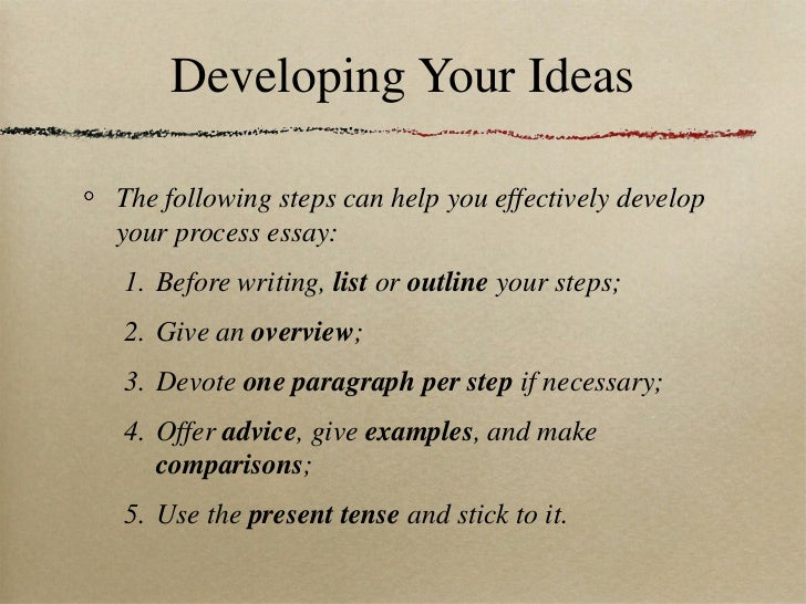 list of steps for writing an essay How to write a process essay four parts: getting ready to write crafting an introduction writing your body paragraphs wrapping it up community q&a a process essay, otherwise known as a how-to essay, tells a reader how to perform a particular task the best process essays follow a clear step-by-step organization.