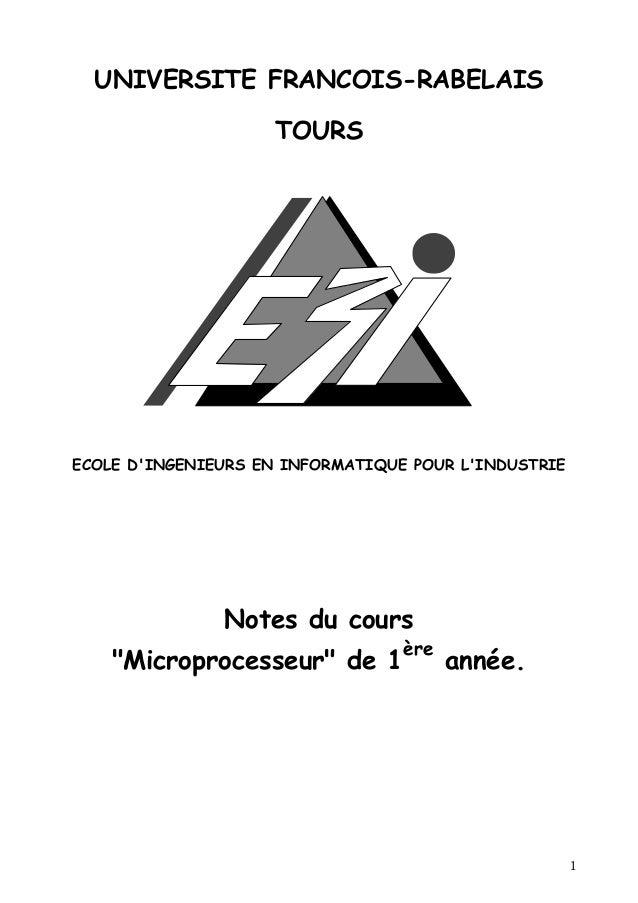 UNIVERSITE FRANCOIS-RABELAIS                    TOURSECOLE DINGENIEURS EN INFORMATIQUE POUR LINDUSTRIE               Notes...