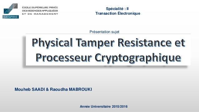 Mouheb SAADI & Raoudha MABROUKI Année Universitaire 2015/2016 Spécialité : II Transaction Électronique Présentation sujet
