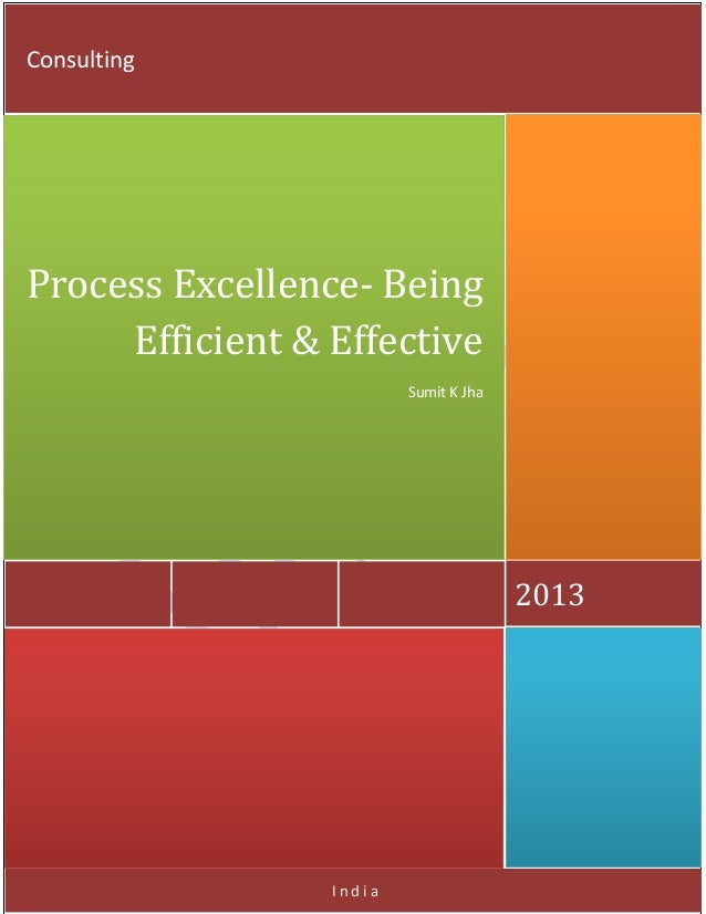 India 2013 Process Excellence- Being Efficient & Effective Sumit K Jha Consulting