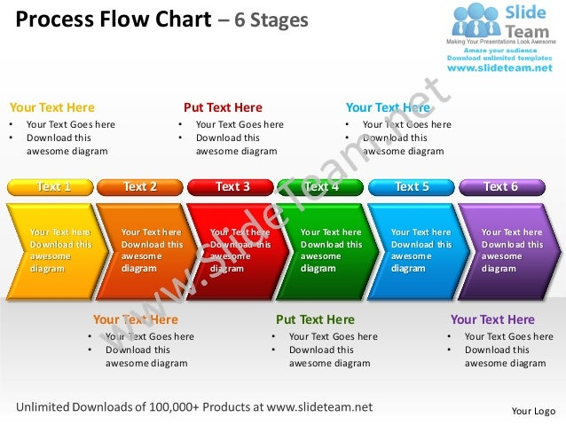 process flow chart 6 stages powerpoint templates 0712, Modern powerpoint