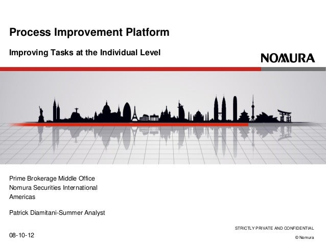 STRICTLY PRIVATE AND CONFIDENTIAL © Nomura Improving Tasks at the Individual Level 08-10-12 Process Improvement Platform P...