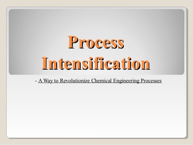 process design intensification