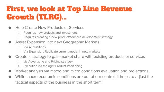First, we look at Top Line Revenue Growth (TLRG)... ○ ○ ○ ○ ○ ○