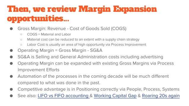 Then, we review Margin Expansion opportunities... ○ ○ ○