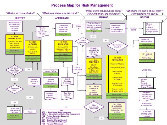 process map for risk management appreciate manage report what is at risk and why