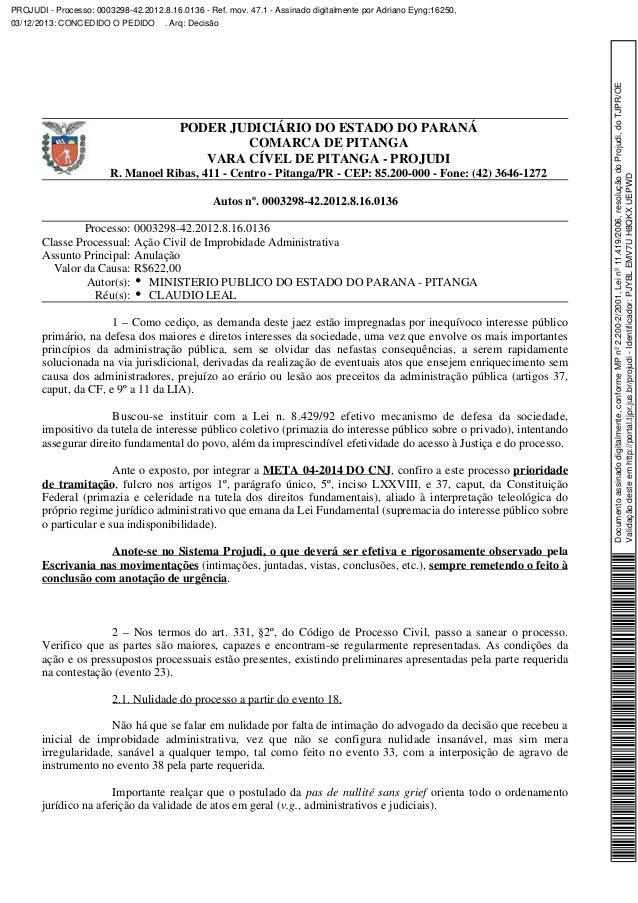 PODER JUDICIÁRIO DO ESTADO DO PARANÁ COMARCA DE PITANGA VARA CÍVEL DE PITANGA - PROJUDI R. Manoel Ribas, 411 - Centro - Pi...