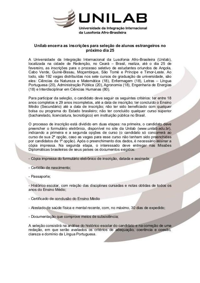 Unilab encerra as inscrições para seleção de alunos estrangeiros no                              próximo dia 25A Universid...