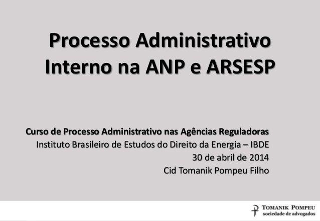 Processo Administrativo Interno na ANP e ARSESP Curso de Processo Administrativo nas Agências Reguladoras Instituto Brasil...