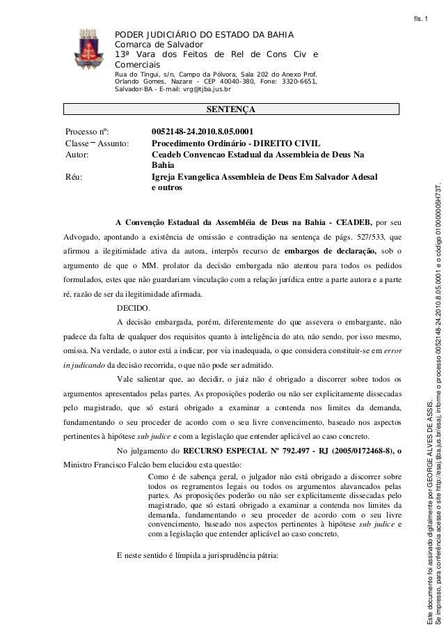 PODER JUDICIÁRIO DO ESTADO DA BAHIA  Comarca de Salvador  13ª Vara dos Feitos de Rel de Cons Civ e  Comerciais  Rua do Tin...