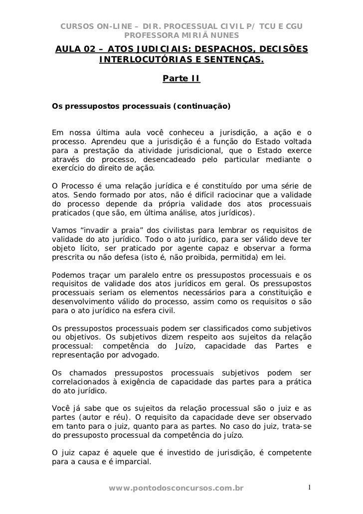 CURSOS ON-LINE – DIR. PROCESSUAL CIVIL P/ TCU E CGU              PROFESSORA MIRIÃ NUNESAULA 02 – ATOS JUDICIAIS: DESPACHOS...