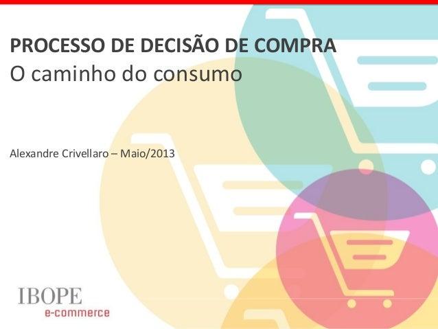 PROCESSO DE DECISÃO DE COMPRAO caminho do consumoAlexandre Crivellaro – Maio/2013