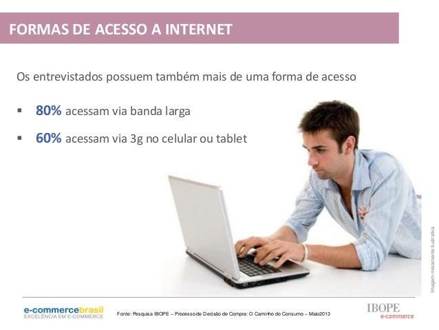  80% acessam via banda larga 60% acessam via 3g no celular ou tabletOs entrevistados possuem também mais de uma forma de...