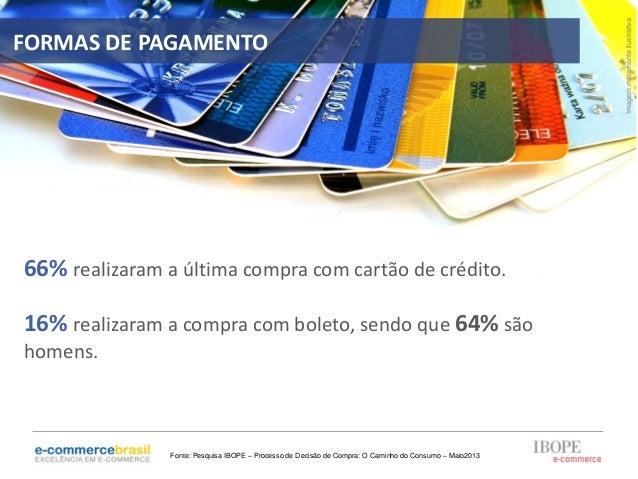 66% realizaram a última compra com cartão de crédito.16% realizaram a compra com boleto, sendo que 64% sãohomens.Imagemmer...