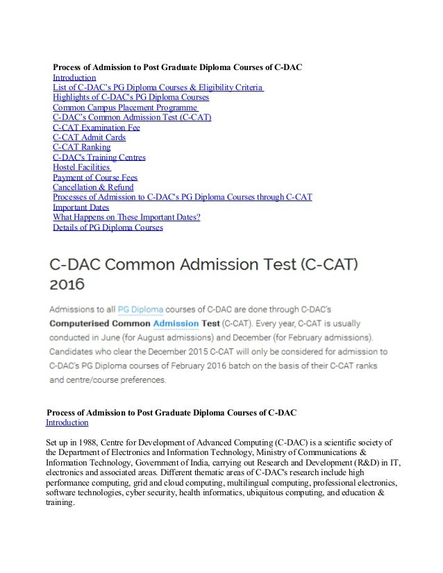 process of admission to pg diploma courses of c dac process of admission to post graduate diploma courses of c dac introduction list of c