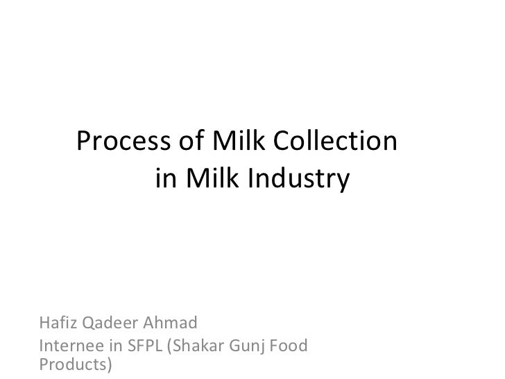 Process of Milk Collection in Milk Industry Hafiz Qadeer Ahmad Internee in SFPL (Shakar Gunj Food Products)