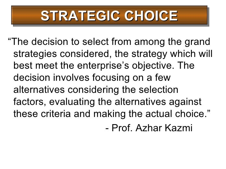 Image result for The Strategic Choice