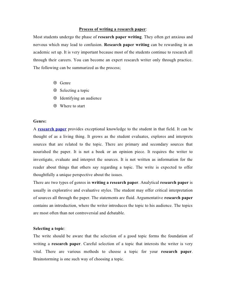 Process for writing a research paper