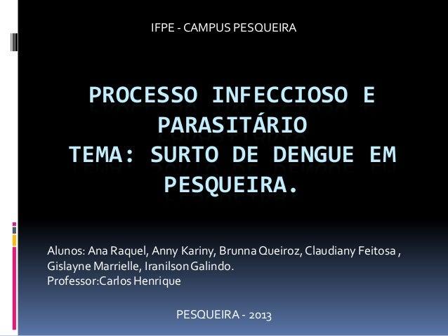 PROCESSO INFECCIOSO E PARASITÁRIO TEMA: SURTO DE DENGUE EM PESQUEIRA. Alunos:Ana Raquel, Anny Kariny, Brunna Queiroz, Clau...