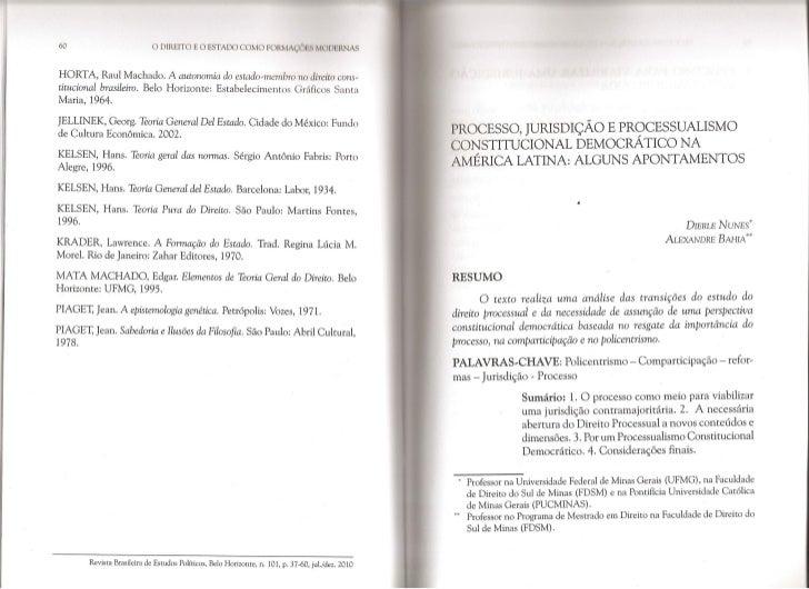 Processo, jurisdição e processualismo constitucional democrático na américa latina   alguns apontamentos - dierle nunes e ...