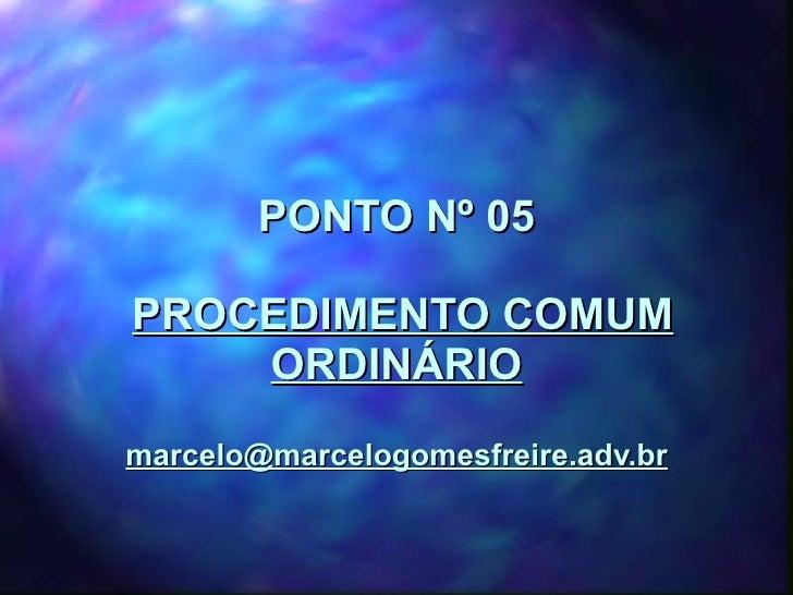 PONTO Nº 05   PROCEDIMENTO COMUM ORDINÁRIO [email_address]