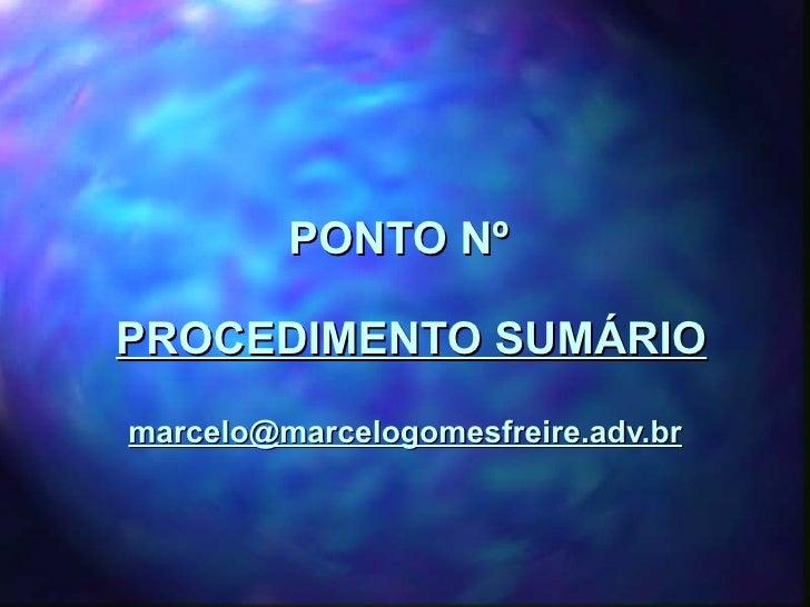 PONTO Nº    PROCEDIMENTO SUMÁRIO [email_address]
