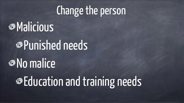 Change the person Malicious Punished needs No malice Education and training needs