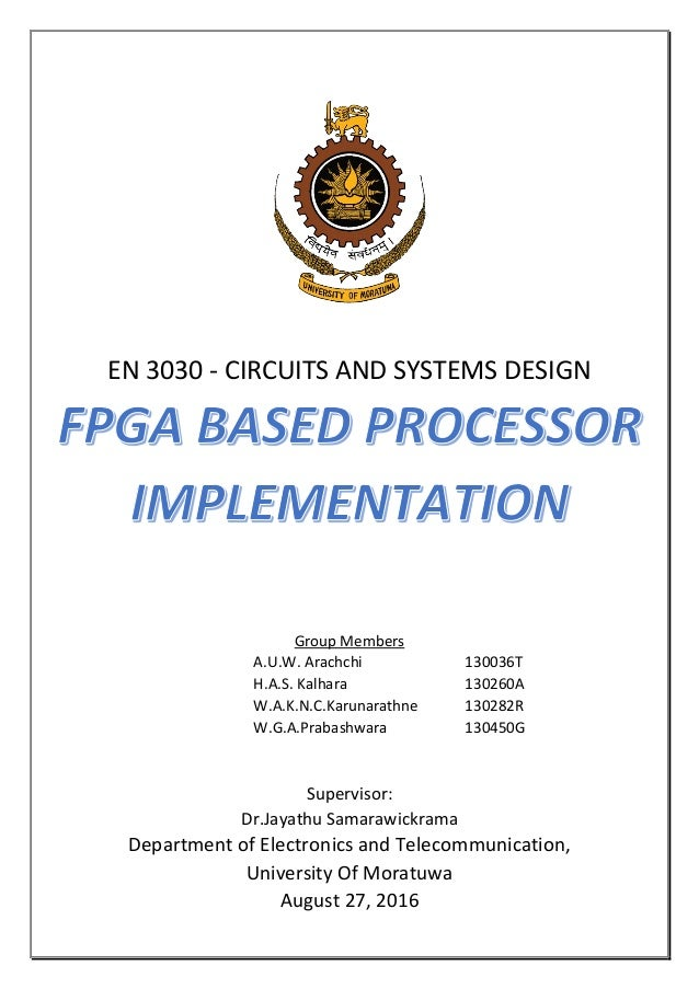 FPGA Verilog Processor Design