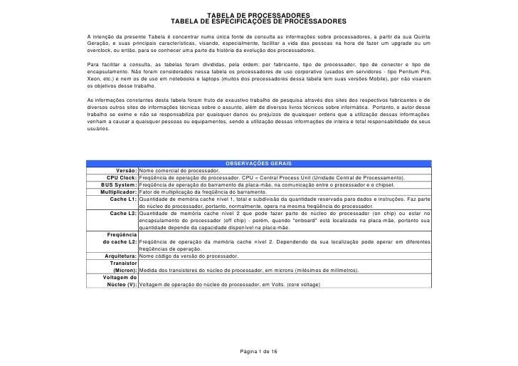TABELA DE PROCESSADORES                                  TABELA DE ESPECIFICAÇÕES DE PROCESSADORES  A intenção da presente...