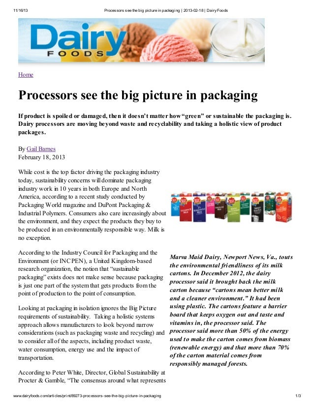 11/16/13  Processors see the big picture in packaging | 2013-02-18 | Dairy Foods  Home  Processors see the big picture in ...